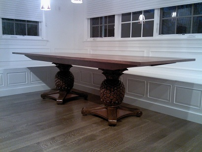 pineapple base round dining table solid cherry top bread board ends matching bases chris madden wood